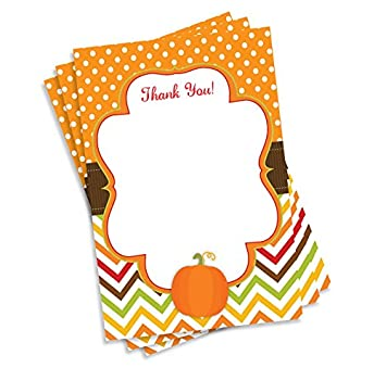 50 pumpkin thank you cards baby shower birthday party any occasion a6
