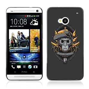Designer Depo Hard Protection Case for HTC One M7 / Dark Monkey & Bananas