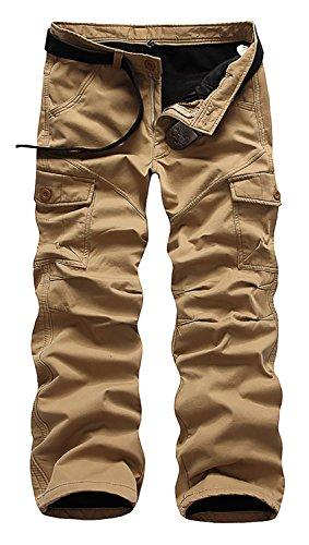AOYOG Men's Fleece Lined Cargo Pant Windproof Work Pants(dark khaki)  32W32L (Pants Cargo Men Lined Flannel)