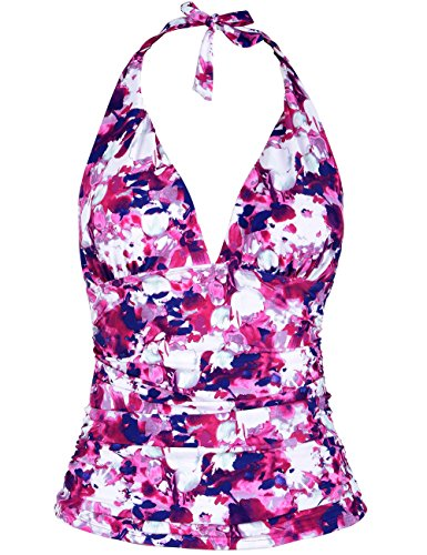 Hilor Women's Plunging V Neck Halter Swim Tops Shirred Tankini Top Pink Floral (Pink Floral Tankini)