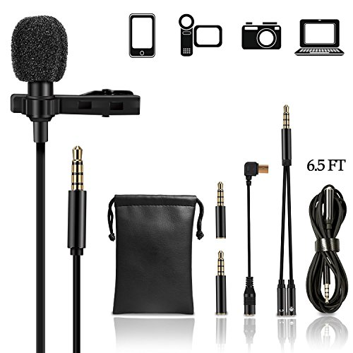 Lavalier Lapel Microphone Kit, UBeesize Professional Clip On Omnidirectional Condenser Lav Mic with 79 Inch Extension Cable for iPhone/Android/ iPad/PC/GoPro/DSLR/Camcorder/Camera/Recorder