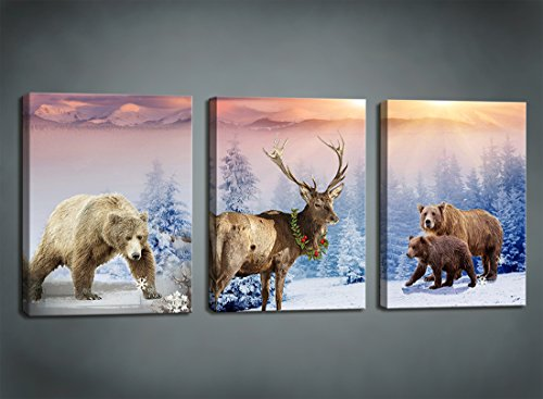 Moyedecor Art - 3 Pieces Wall Art Paintings Bear and deer In Winter Snow Mountain Landscape Art Prints On Canvas print Decoration Home and Room Gift piece ,Size:12