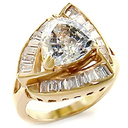 Center Trillion 3 Stone Ring (3 Carat Gold Plated Clear Trillion Cut Engagement, Wedding Ring, Size 5,6,7,8,9,10 (10))