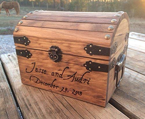 (Engraved Wooden Card and Memory Chest - Rustic Wedding Card Chest - Personalized Gift - Rustic Wedding Decor - Wedding Card Holder - Personalized Card)
