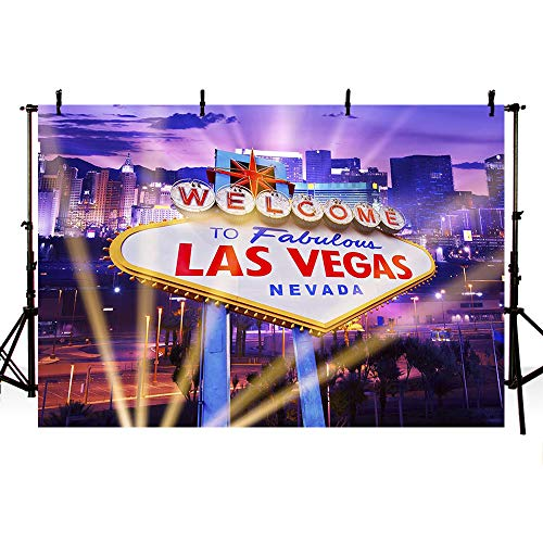 MEHOFOTO Welcome to Fabulous Las Vegas Backdrop Shiny City Scenery Background Casino Themed Party Decoration Backdrops Banner 7x5ft