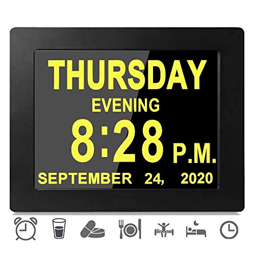 2020 Upgraded 16 Reminders Digital Day Alarms Clocks Electronic Calendar for Memory Loss Elderly Dementia Sufferers Alzheimers Wall Vision Impaired Patients Kids Room (8'' Black)