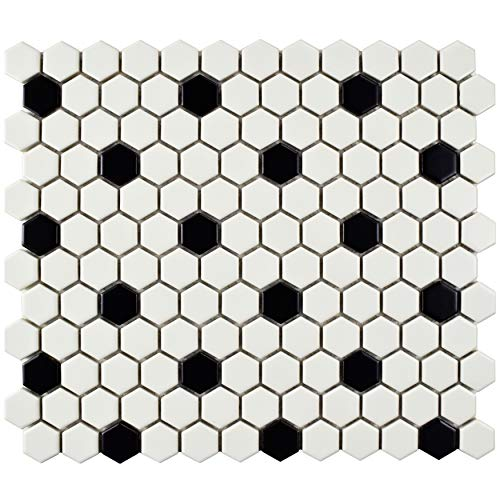 Black & White Ceramic Bathroom - SomerTile FDXMHMWD Retro Hex Porcelain Floor and Wall Tile, 10.25