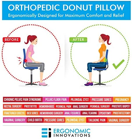 Donut Tailbone Pillow Hemorrhoid Cushion - Donut Seat Cushion Pain Relief Hemmoroid Treatment, Bed Sores, Prostate, Coccyx, Sciatica, Pregnancy, Post ...