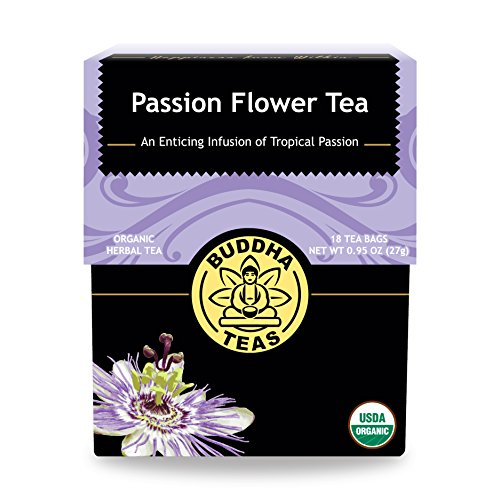 Organic Passion Flower Tea, 18 Bleach-Free Tea Bags - Caffeine Free Tea Relieves Anxiety and Insomnia, Eliminates Inflammation and Menopause Issues, Acts as an Antidepressant and Relaxant, No GMOs