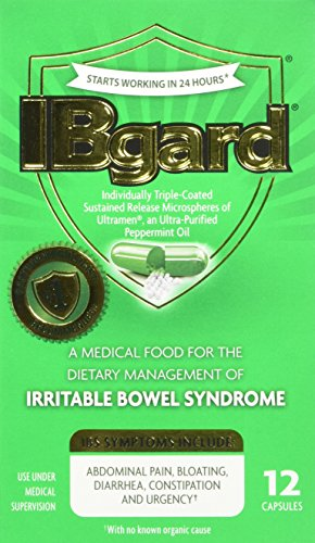 IBgard for Irritable Bowel Syndrome (IBS) Relief Bloating Gas 12 Capsules Small Box 90mg Ultra Purified Peppermint Oil Good for First Timers ()