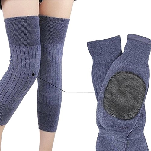 A Pair Elastic Warm Knee Sleeves for Arthritis Pain Relief Women Men Thicken Cashmere Wool Breathable Knee Brace Support Pads Winter Sports Thermal Knee Leg Warmers Sleeve Protector Legging Stockings