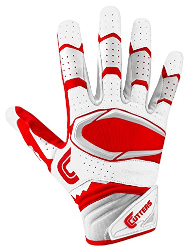 Cutters Gloves Rev Pro 2.0 Receiver Football Gloves, White/Red, Large by Cutters
