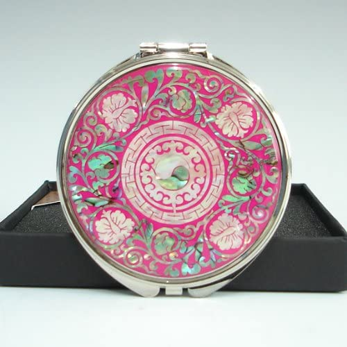 Mother of Pearl Yin Yang Pink Double Cosmetic Compact Makeup Pocket Handbag Round Magnifying Mirror with Arabesque Design