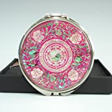 Cheap Mother of Pearl Yin Yang Pink Double Cosmetic Compact Makeup Pocket Handbag Round Magnifying Mirror with Arabesque Design