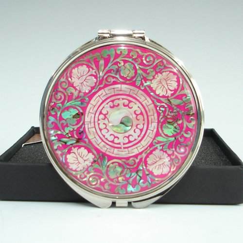 Mother of Pearl Yin Yang Pink Double Cosmetic Compact Makeup Pocket Handbag -