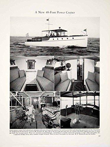 48' Design (1928 Print Charlotta II 48ft Power Cruiser Yacht Boat Marine Ship Interior YYM1 - Original Halftone Print)