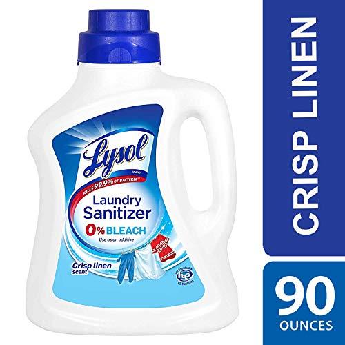 Lysol Laundry Sanitizer Additive, Crisp Linen, 90oz, bacteria-causing laundry odor eliminator, 0% bleach laundry sanitizer, Multicolor