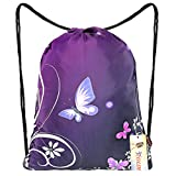 iColor Sackpack,Drawstring Backpacks,Stylish Multipurpose Girls Nylon Drawstring Bags Gym Bags ,Teen Dance Bag, Lightweight Gym Bag for Women Cycling Hiking,Team Training Gymsack (Butterfly & Flower)