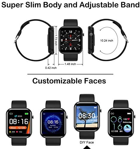 """Smart Watch Fitness Tracker with Blood Pressure Monitor Heart Rate Monitor for Android Phones iPhone Compatible, 1.54"""" IP67 Waterproof Activity Tracker for Women Men Sleep Monitor Medical Alarm 7"""