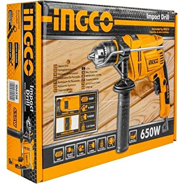 INGCO POWERTOOLS & HANDTOOLS 650W Impact Drill 3000RPM 13 mm Variable Speed (ID6538, Yellow and Black) 4