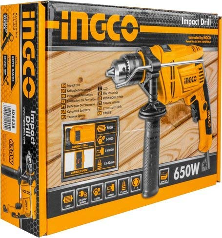 INGCO POWERTOOLS & HANDTOOLS 650W Impact Drill 3000RPM 13 mm Variable Speed (ID6538, Yellow and Black) 2