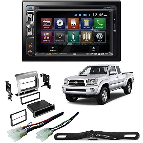 Dual XDVD256BT Double DIN Bluetooth in-Dash Car Stereo Receiver Toyota Tacoma Double Din Car Stereo Radio Installation Dash Mount Kit Harrness + CAM-600 License Plate Rear View Camera ()
