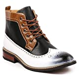 Metrocharm MET525-4 Men's Lace Up Perforated Wing Tip Formal Dress Casual Fashion Ankle Boots (13, White)