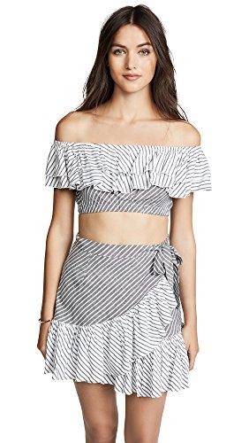 Suboo Women's Ziggy Frill Crop Top, Stripe, 10
