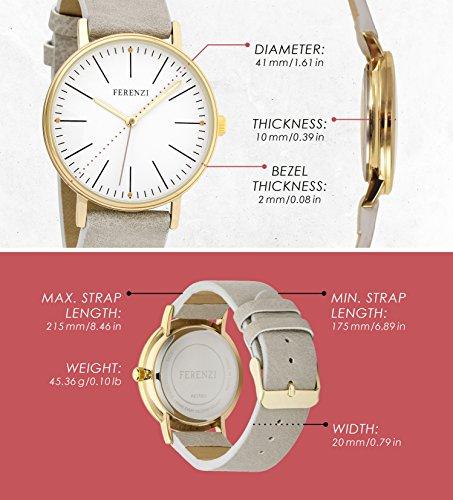 Ferenzi Women's FZ17202 Classic Gold-Tone and Grey Large Minimalist Analogue Quartz Fashion Watch
