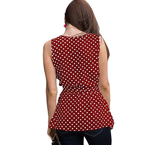 Manches t sans Taille Fit Red Causal Chemises Slim Blouse Dbardeur Femme Pois Imprimer Basique x74q0qT