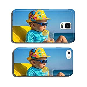 kid drinks juice against sea cell phone cover case Samsung S5