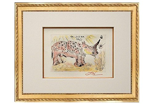 Signed Lithographs Dali (Salvador Dalí 'Rhino'. Custom framed lithograph on archival fine art cotton-rag paper, from the original signed plate. Limited Edition. Framed size: 21