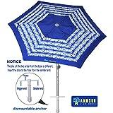 AMMSUN 7 Ft Beach Umbrella Sand Anchor With Vented Tilt and Aluminum Pole