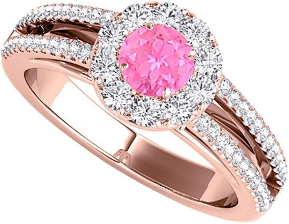 Rose Gold Engagement Ring With Pink Sapphire And Cz Amazon Com