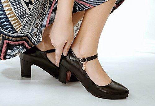 Chaussures De Rétro Femme Bureau Chunky Noir Escarpins Aisun Boucle Avec wtpRqE5tx