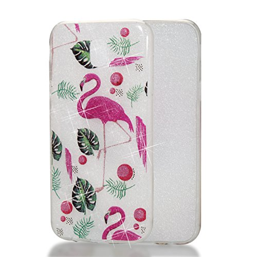 Qiaogle Teléfono Caso - Funda de TPU silicona Carcasa Case Cover para Huawei Y5 2017 / Y6 2017 (5.0 Pulgadas) - YB69 / Dreamcatcher YB80 / Flamingo