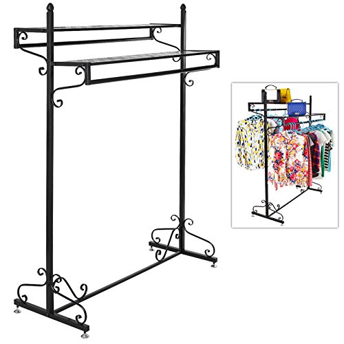 Victorian Style Boutique Clothes / Garment Display Rack w/ Dual Hangrail & Cargo Shelves, Black - MyGift -