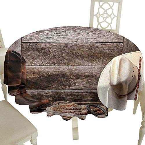 Cranekey Checkered Round Tablecloth 54 Inch Western Decor,American West Rodeo White Straw Cowboy Hat with Lariat Leather Boots on Rustic Barn Wood Great for,Wedding & More ()