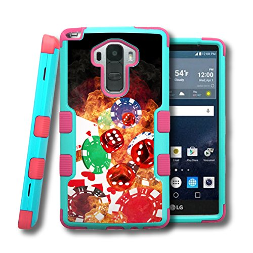 LG G Stylo LS770 Case, CaseCreator[TM] NATURAL TUFF Hybrid Rubber Hard Snap-on Case For LG G Stylo LS770, Pink Teal Blue-Cards Dice Chips