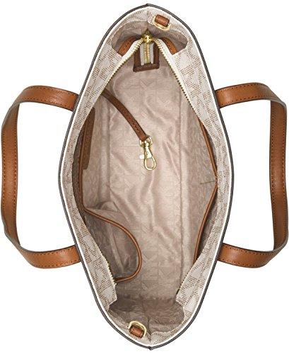 347a48421c44b3 Michael Kors Hayley Medium North South Top Zip Bag-in-Bag Tote PVC Vanilla