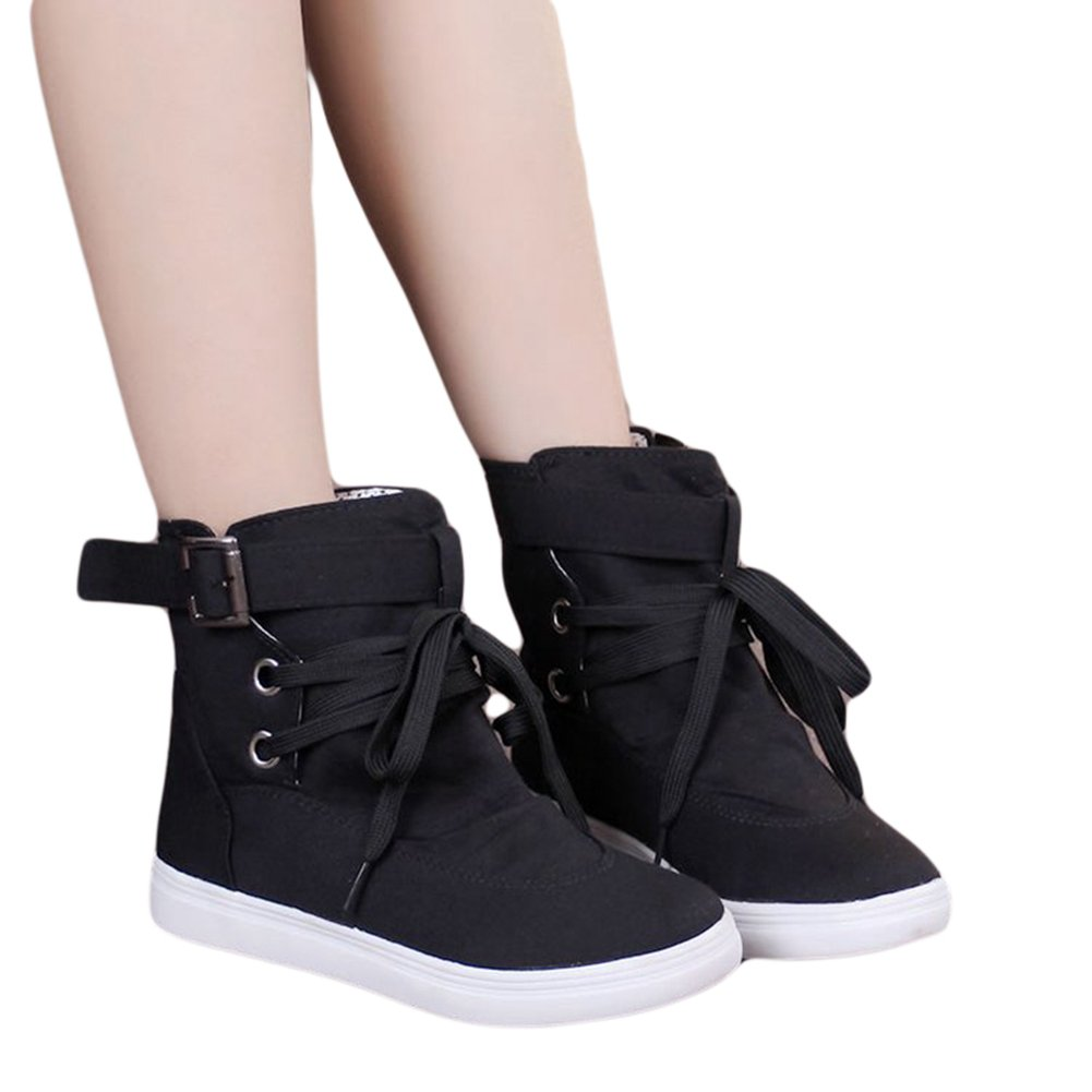 Btrada Women High Top Buckle Lace-up Flat Canvas Sneaker Shoes
