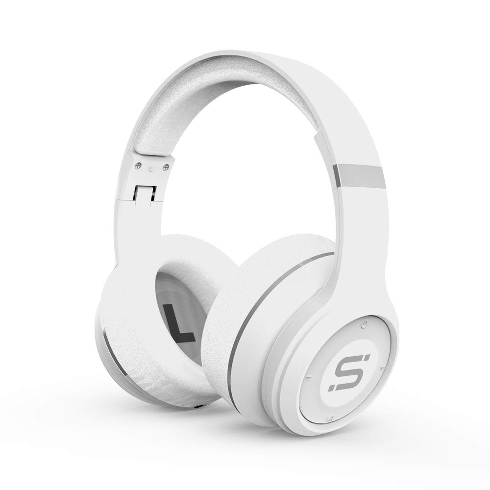 SoMi Infinite Wireless Bluetooth Headphones, Over Ear Headset, Foldable, Adjustable, Comfortable Protein Earmuffs w Built-in Mic and Wired Mode for PC Cell Phones TV, White