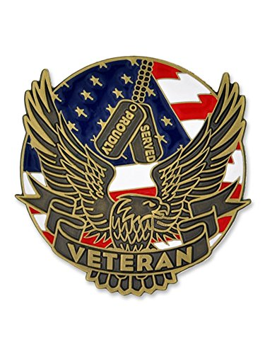 PinMart Proudly Served Veteran Eagle Patriotic Enamel Lapel Pin (Us Army Beret Colors)