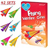 Valentine's Day Cards for Kids - 42 Paper Airplane Cards + 42 Envelopes School/Classroom/Class Heart Crafts Party Gift Exchange Kit Pack Favor Decorations