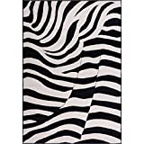 LV 5x7 Black White Zebra Print Area Rug Rectangle, Indoor Safari Jungle Carpet for Living Room Africa Floor Mat Nature Wilderness Wild Animals Wildlife Exotic Horse, Polypropylene