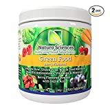 Natural Greens Food By Naturo Sciences - Complete Raw Whole Green Food Nutrition with Super Powerful Antioxidants, Vitamins, Minerals - Amazing Berry Flavor 8.5oz (240g) 30 Servings, Pack of Two