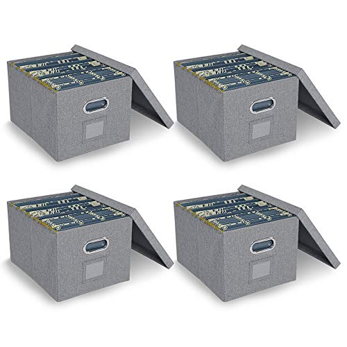 ATBAY File Storage Box with lids Large Capacity Office File Organizer for Letter Size File Folder, Gray(4PACK)