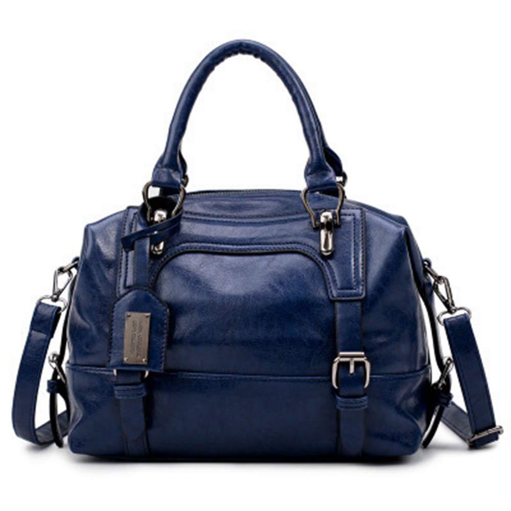 Amazon.com  Sunwel Fashion Womens Soft Pu Leather Small Boston Satchel  Shoulder Bag Top Handle Cross Body Handbag (Navy)  Garden   Outdoor 9b96e8bf14