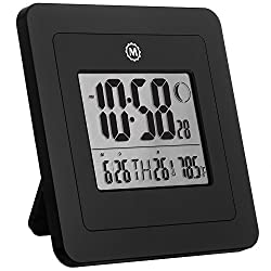 Marathon CL030049-BK Digital Wall Clock with Moon Phase, Date and Indoor Temperature. (Also Functions as a Jumbo Timer!!!) - Batteries Included (Black)