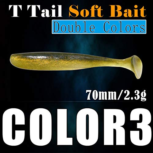 Jinxuny Soft Shad Lures T-Tail Whole Fishing Lure Set Minnow Saltwater Freshwater Lures Soft Plastics Worm Baits(10pcs) (Color : #3)